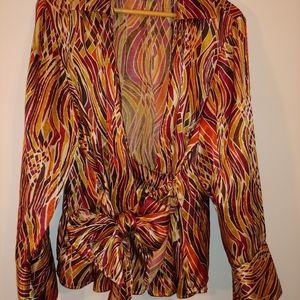 Lane Bryant multi-colored sash tie blouse